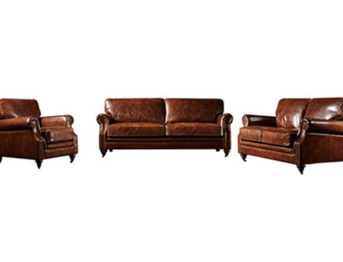 KENSINGTON LEATHER SOFA VINTAGE CIGAR