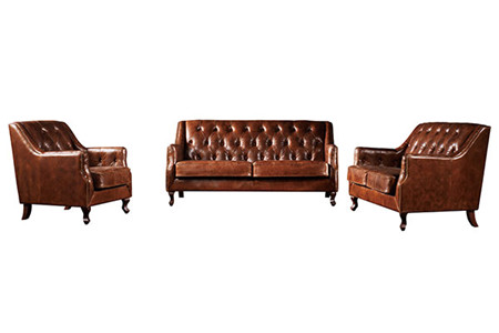 DISTRESSED LEATHER SOFA A113
