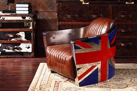 Vintage Armchair Leather Union Jack