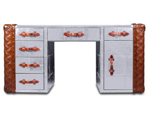 Aviation Trunk Tables Drawer Desk Richards' Trunk Desk – Polished Aluminum