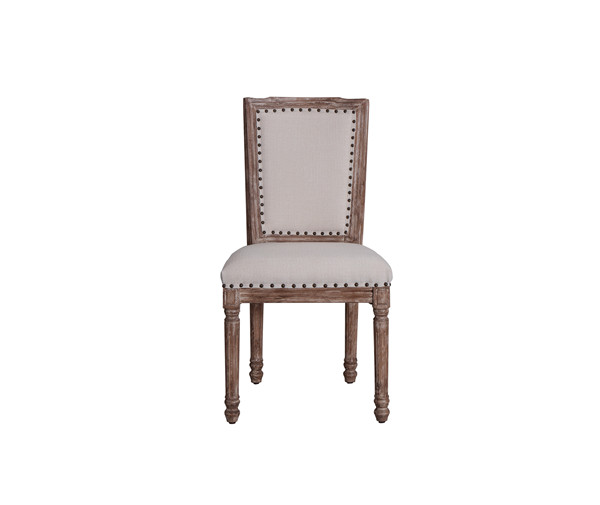 VINTAGE FRENCH SQUARE CANE BACK FABRIC SIDE CHAIRS