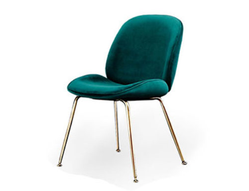 Conic base Fully Velvet Upholstered Beetle Chairs